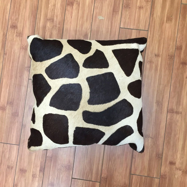 Cowhide Giraffe Stencil Brown w/ Black Backing - Trophy Room Collection