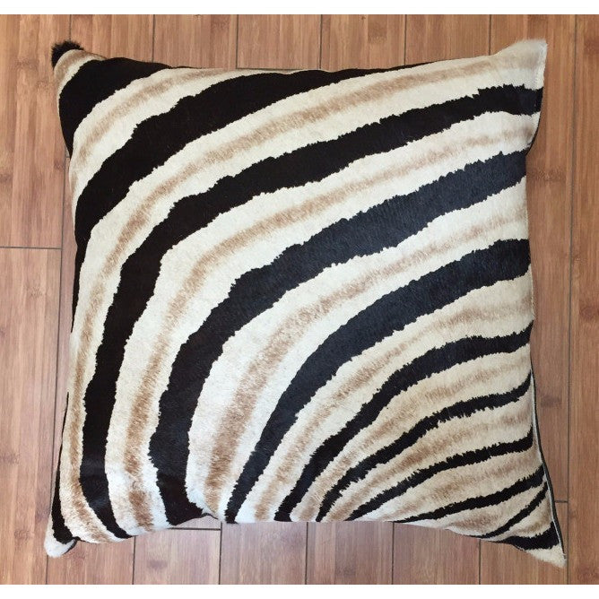 Cowhide Zebra Stencil Shadow Stripe w/ Leather Backing - Trophy Room Collection