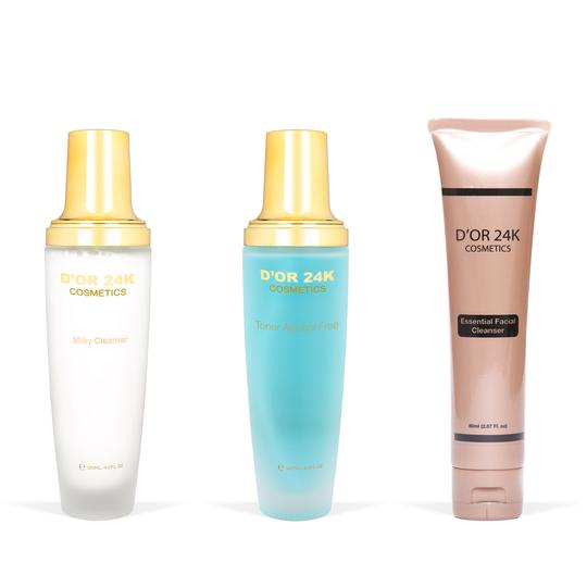 The Ultimate Cleansing Set - Alcohol-Free Essence Toner / Purifying Milk Cleanser / Essential Facial Cleanser