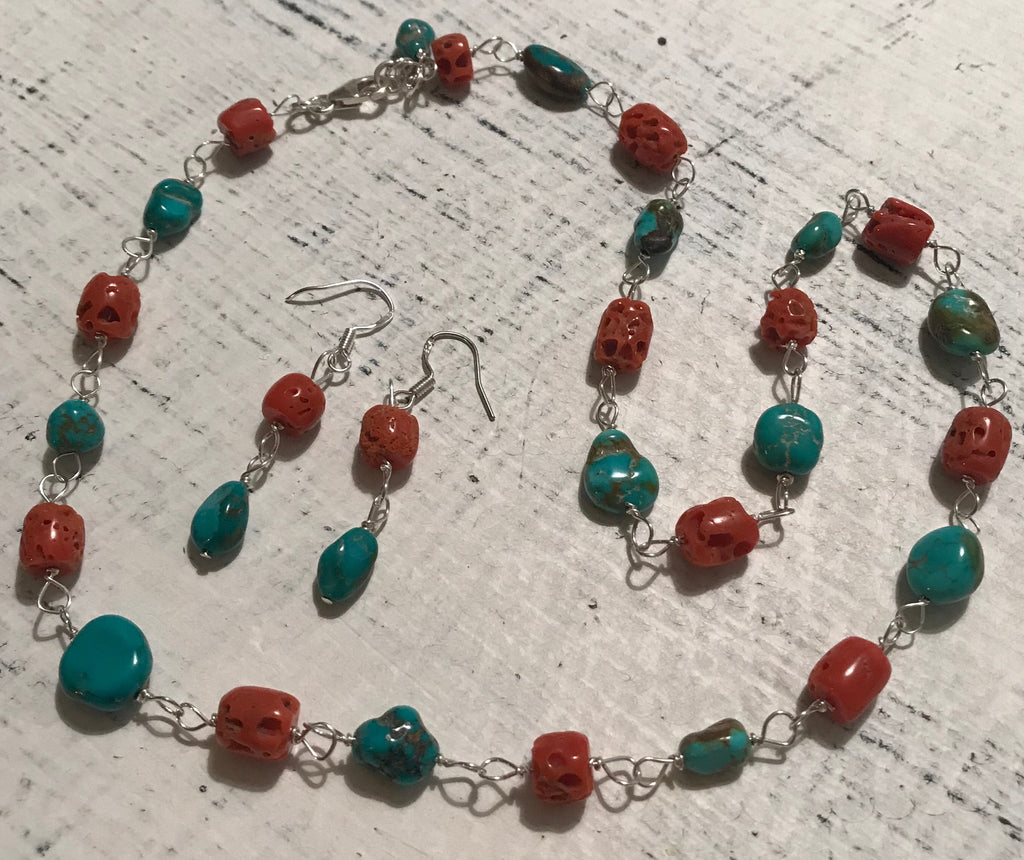 "19"" Red Coral & Turquoise Necklace & Earring Set"