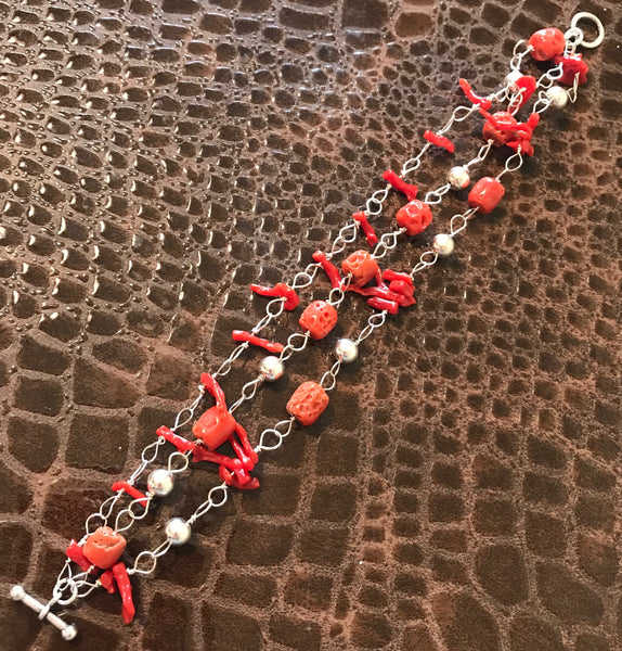 "8"" Red Coral & Sterling Silver Triple Bracelet"
