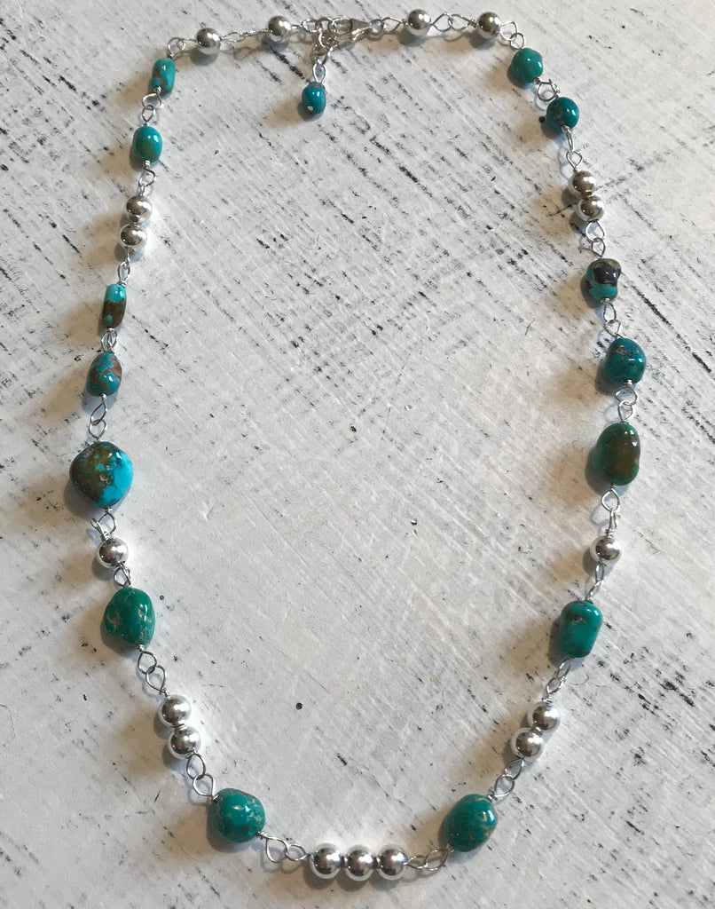 "19"" Turquoise & Sterling Silver Necklace"