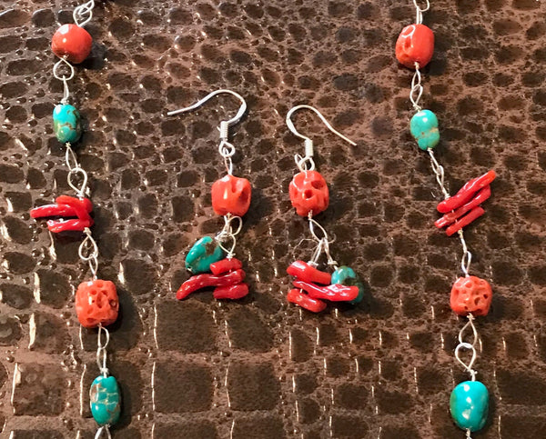 "18"" Red Coral & Turquoise Necklace & Earring Set"