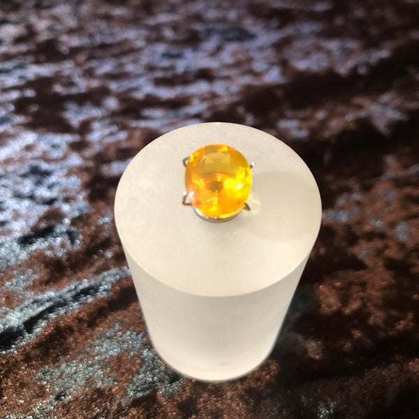 3.9 Carat Faceted Yellow Oregon Fire Opal