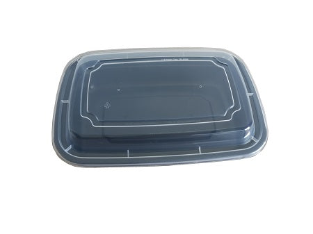 9″ Rectangular Black Container with Lid LR-28