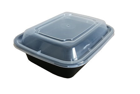 6″ Rectangular Black Container with Lid LR-12