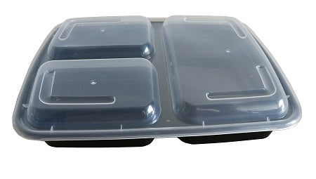 7″ Rectangular Black Container with Lid JF-339