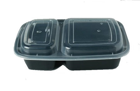 9″ Rectangular Black Container with Lid LT32-B