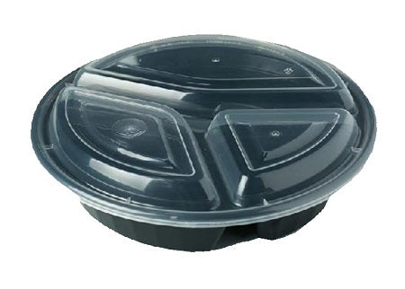 9″ Round Black Container with Lid JR-348