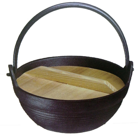 Cast Iron Pot w/Handle + Wooden Lid - 生鐵18cm手挽煲