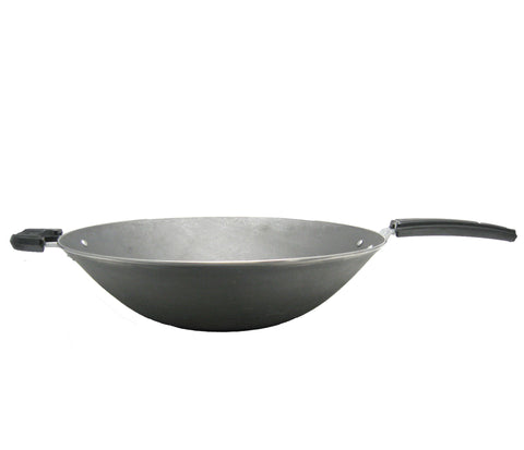 Wrapped Edge Cast Iron Wok With Long Handle