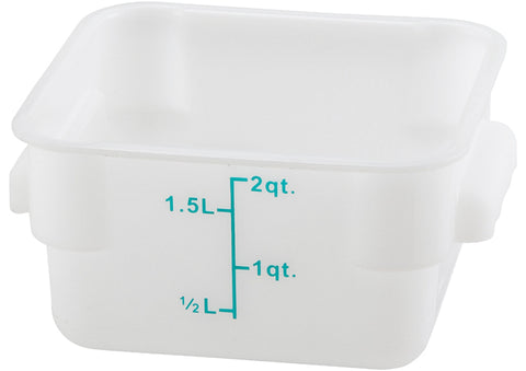 Square Storage Container, White Polypropylene