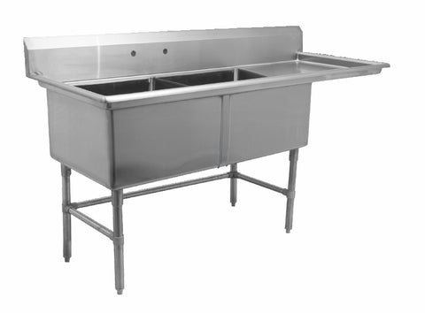 "24"" Double Sink with Right Drain Board SM-D2424-R"