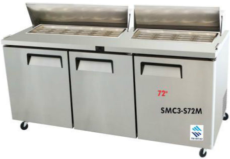 "72"" Three Doors Sandwich/Salad Prep Table SMC3-S72-18"