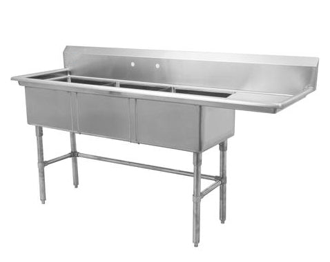 "18"" Triple Sink with Right Drain Board SM-T1818-R"