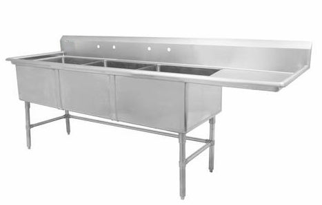 "24"" Triple Sink with Right Drain Board SM-T2424-R"