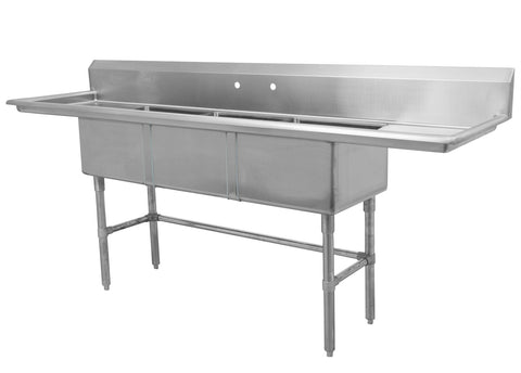 "18"" Triple Sink with Two Drain Board SM-T1818-LR"