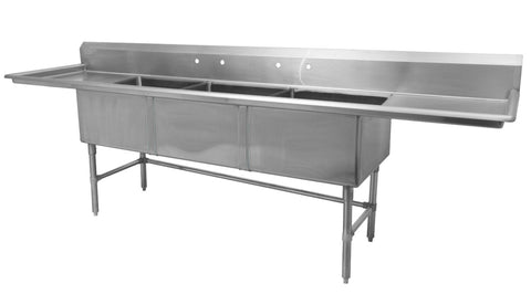 "24"" Triple Sink with Two Drain Board SM-T2424-LR"