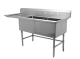 "24"" Double Sink with Left Drain Board SM-D2424-L"