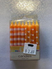 Dots and Stripe Candle Orange 16 ct