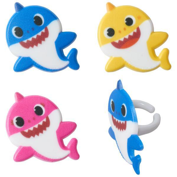 Baby Shark Mommy, Daddy and Baby Rings - 12ct