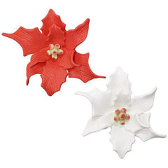 Poinsettia Gumpaste Flowers - White & Red - Single