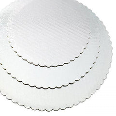 "Cake board - 8"" White Scallop - Single"