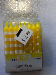 Dots and Stripe Candle Yellow 16 ct.