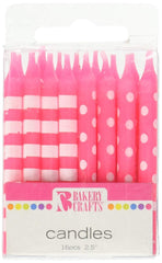 Dots and Stripe Candle Pink 16ct