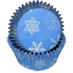 Baking Cups  - Blue with White Snowflakes - 50ct. approx