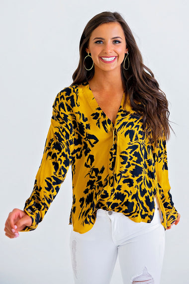 Leopard Button Front Top - Karlie Clothes