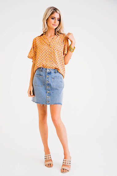 Denim Button Front Skirt - Karlie Clothes