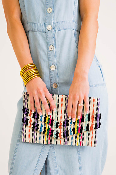 Multi Striped Fringe Clutch