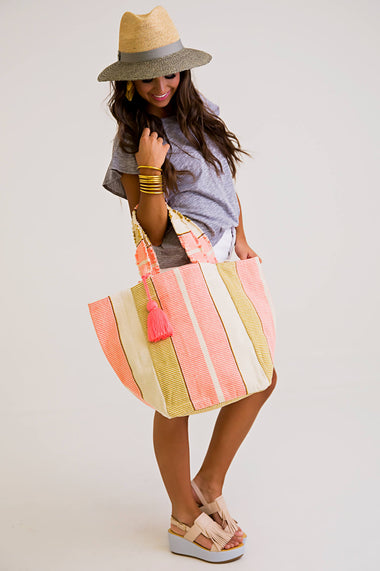 Wide Stripe Shopper Tote