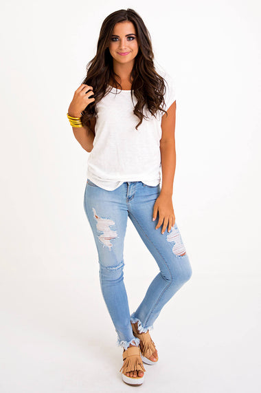 Frayed Bottom Distressed Jeans - Karlie Clothes