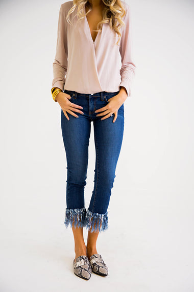 Fringe Bottom Jeans - Karlie Clothes