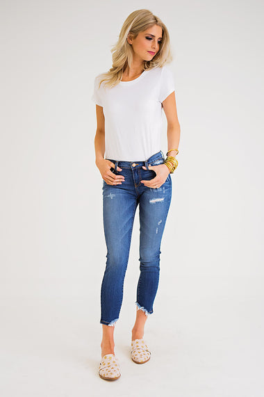 Distressed Cropped Jeans - Karlie Clothes