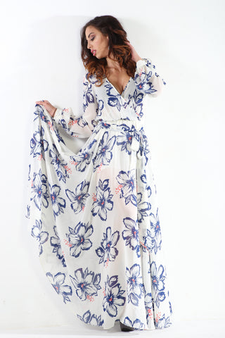Long Sleeve Wrap Premium Maxi Dress