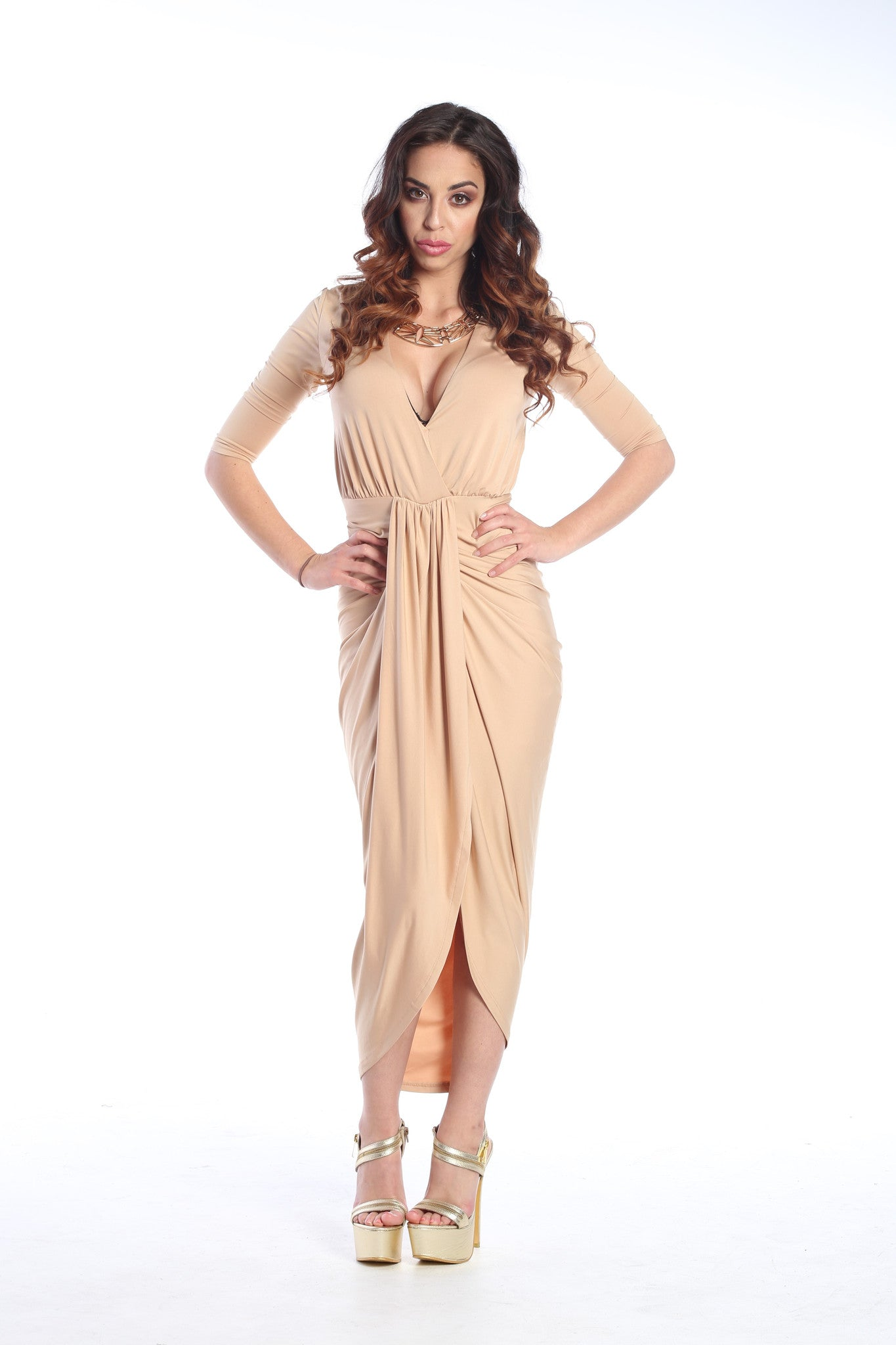 Slinky Front Knot Bodycon Maxi Dress