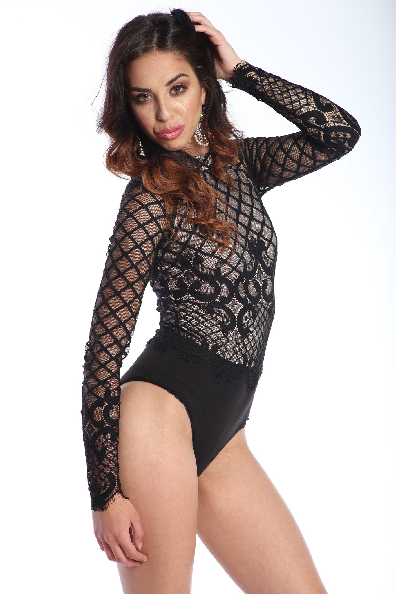 Patterned Mesh-Lace Premium Bodysuit - The Dé Luxe Boutique
