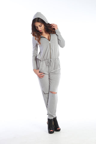 Hooded Open-Knee Jumpsuit
