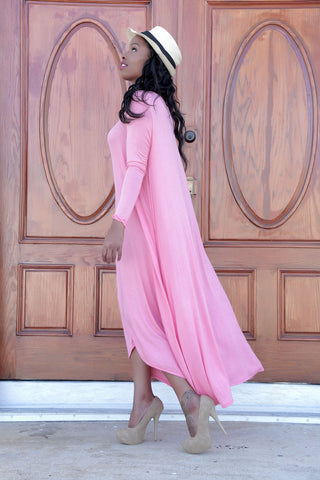 Long Sleeve Maxi Drapery Dress