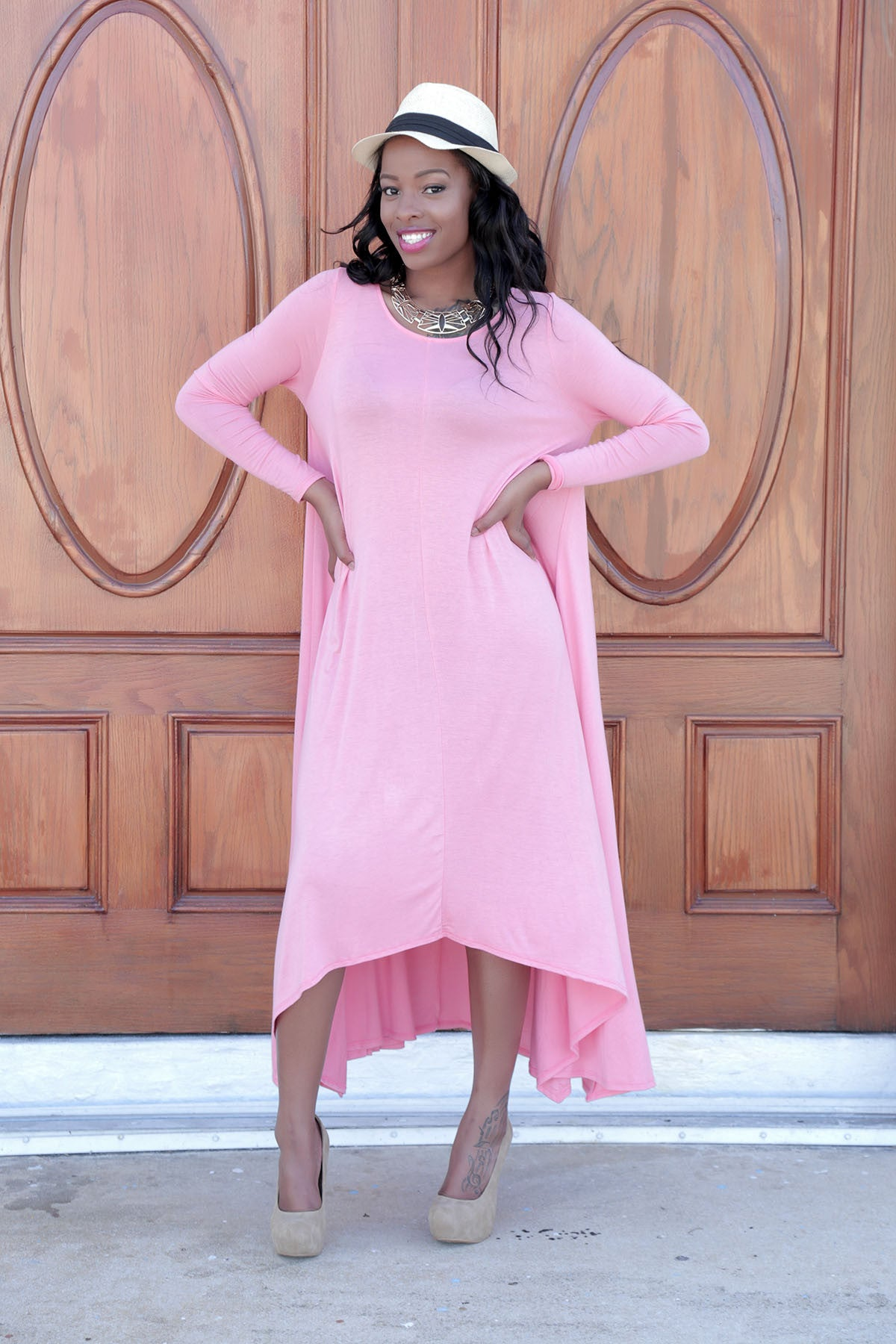 Long Sleeve Maxi Drapery Dress - The Dé Luxe Boutique