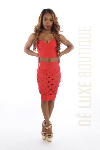 Sweet Heart Caged Bandage Skirt Set