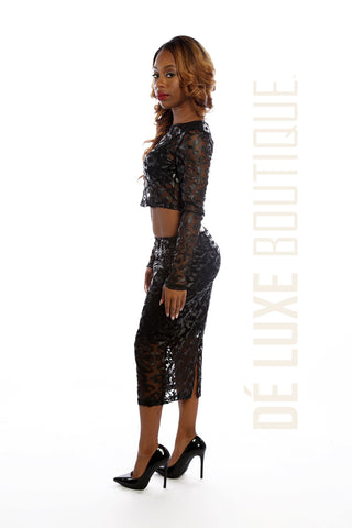 Detailed Leather & Mesh Bodycon Skirt Set
