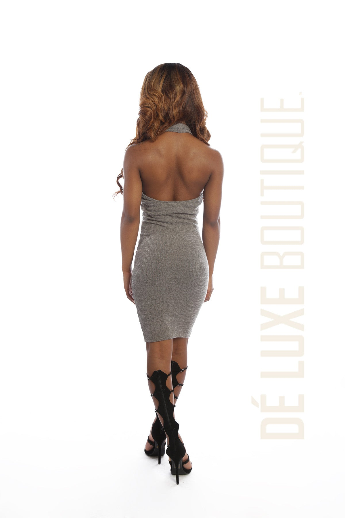 Sleeveless Ribbed Lace Up Mini Dress - The Dé Luxe Boutique