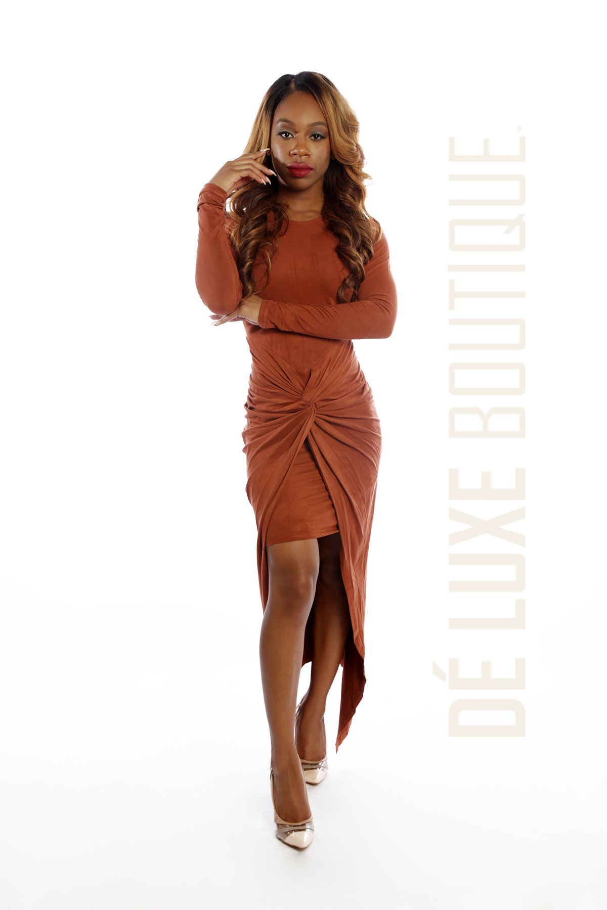 Knot Me Up Suede Maxi Dress - The Dé Luxe Boutique