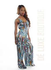 Printed Cross-Back Jumpsuit - The Dé Luxe Boutique