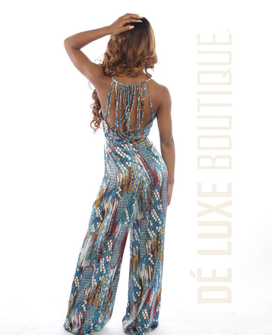 Printed Cross-Back Jumpsuit