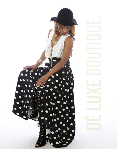 Charming Polka Dot Maxi Skirt